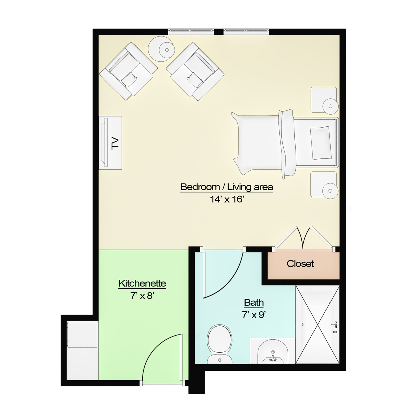 Senior apartments assisted living tucker ga for Living room floor plan