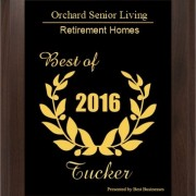 Orchard Senior Living for the 2016 Tucker Small Business Excellence Award in the Retirement Homes